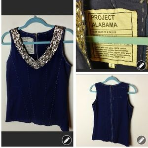 Anthropologie Project Alabama gold beaded top 1329